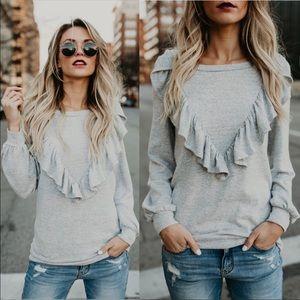 Sweaters - Heather grey chevron ruffle sweater